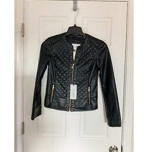 NWT Cole Haan Signature Quilted Faux Leather Coat